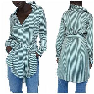 NEW Zara Belted Striped Satin-Effect Shirt/Blouse